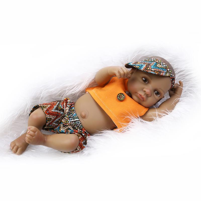 Mini Black Doll 11 Boy Lifelike Reborn Baby Waterproof