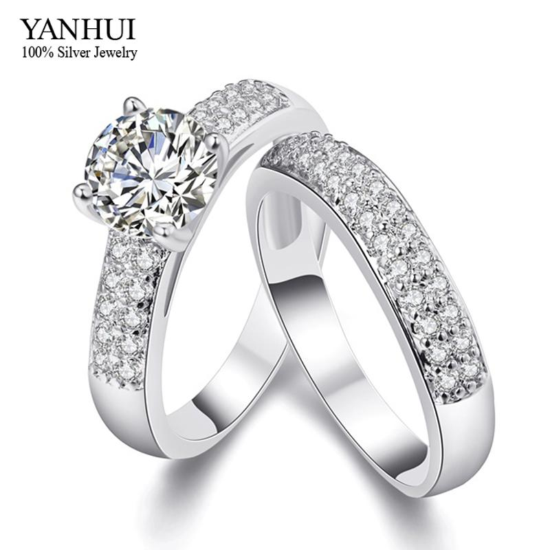 YANHUI New Trendy Real 18K White Gold Filled Two Engagement Ring Women CZ  Diamond Fashion Jewelry Wedding Rings For Women YR502