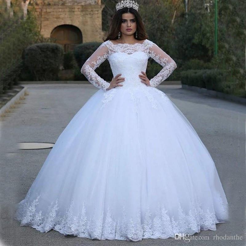 White Wedding Dresses Puffy 2017 Beautiful Elegant Lace Long
