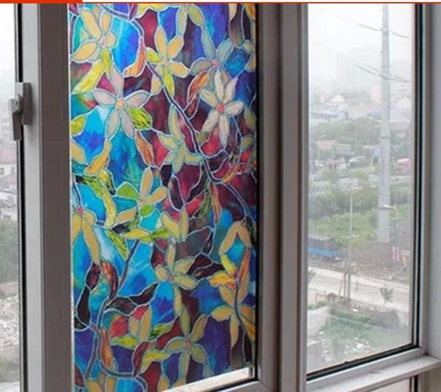 Coloured Drawing Or Pattern Glass Sticker Without Glue