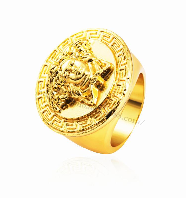 2016 Brand New Hip Hop Medusa Rings 18k Gold Plated Fashion Men Golden Rings Hiphop Punk Rock