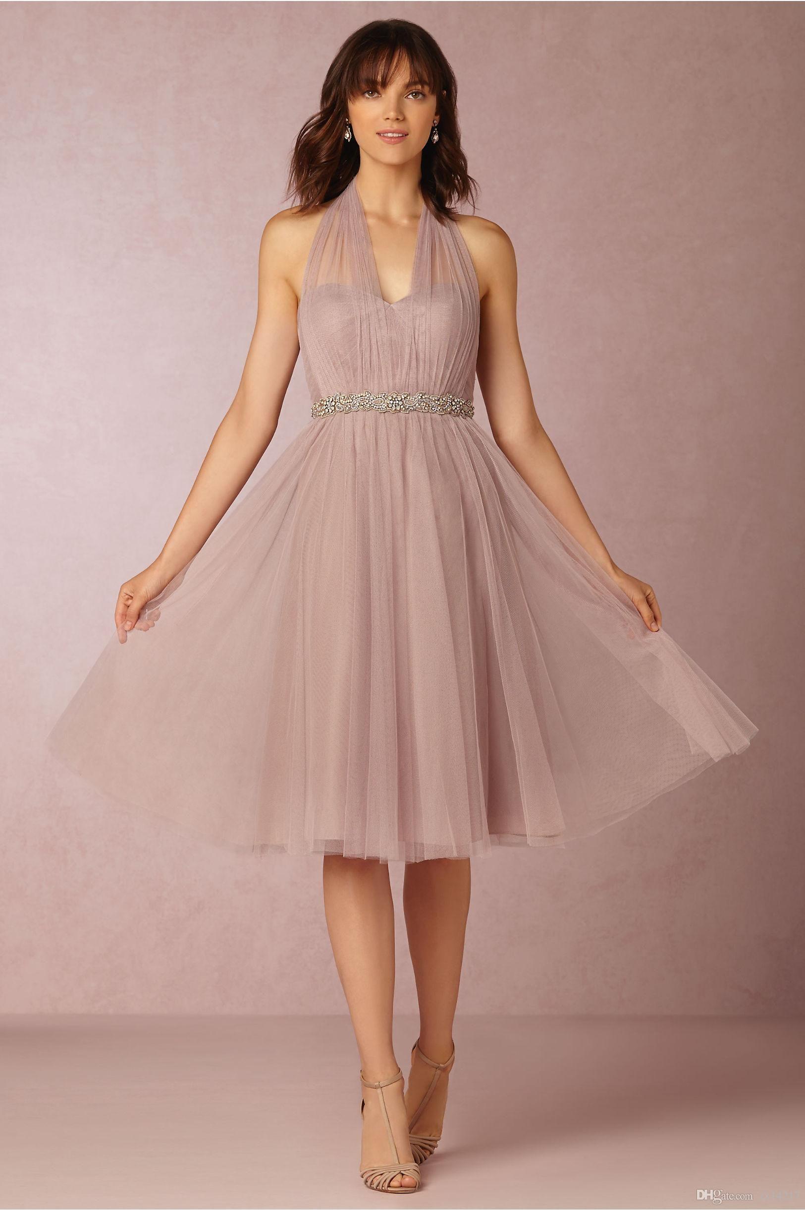 Vintage Bridesmaid Dresses 2016 Cheap Halter Illusion