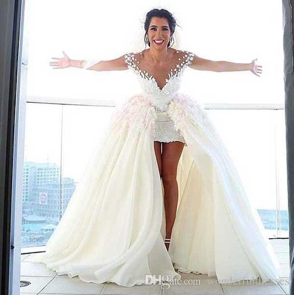 Wedding Dresses With Detachable Train Ivory 3D Floral Appliques Lace Sheer Neck Chiffon Floor