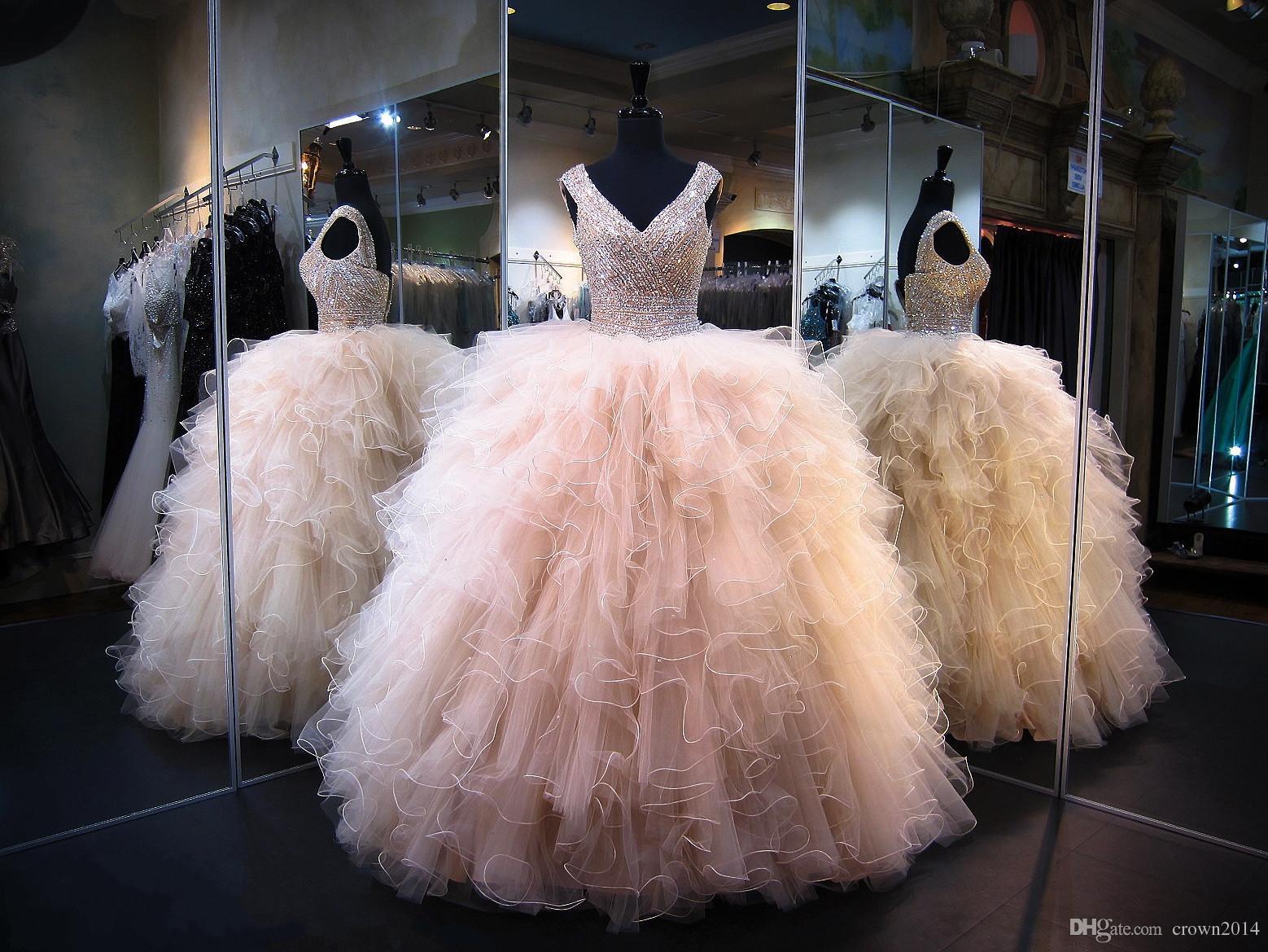 2017 New Champagne Quinceanera Dress V Neck Masquerade