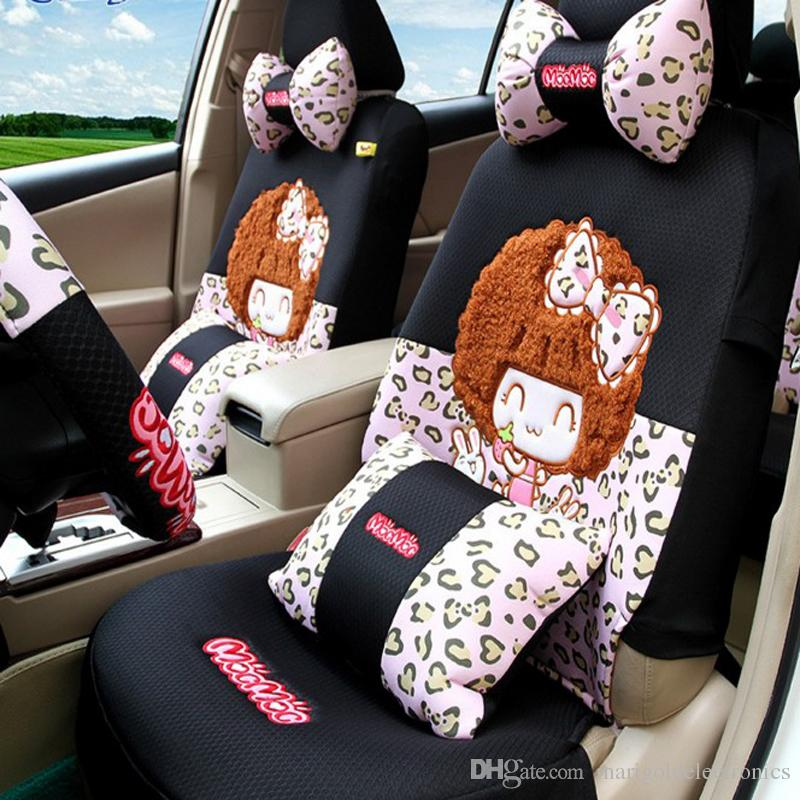 cute cartoon baby girl polka dot leopard pink car seats covers sets for summer full set auto. Black Bedroom Furniture Sets. Home Design Ideas