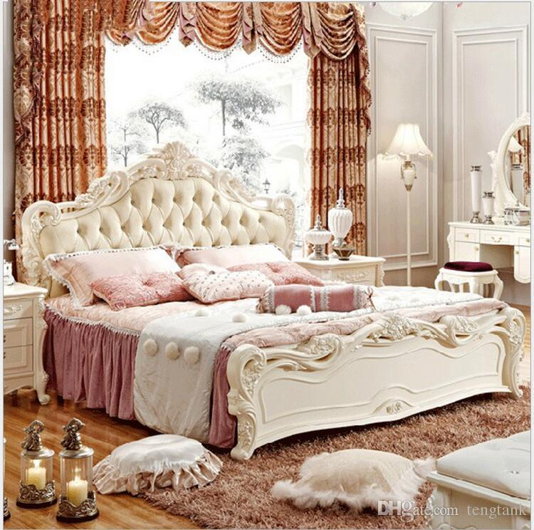 Hot Selling Modern European Solid Wood Bed Fashion Carved 18 M