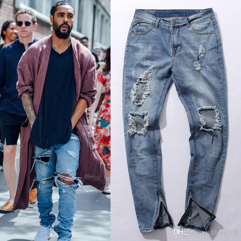 Online Cheap New Arrival Skinny Ripped Jeans Hip Hop Destressed ...