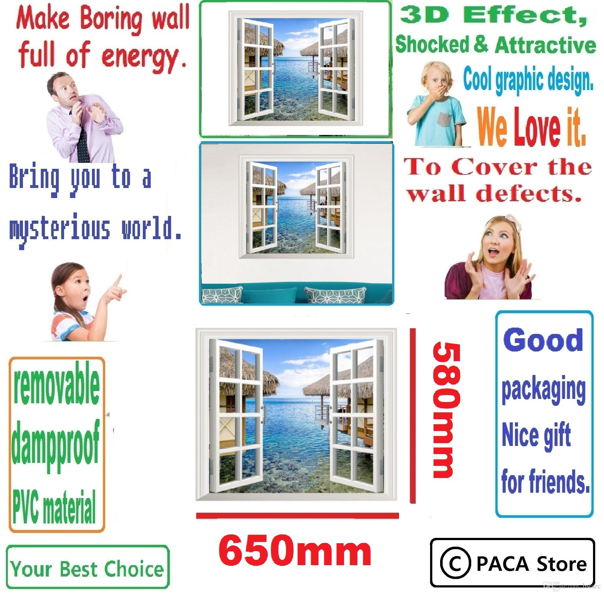 Artificial Window 3d Artificial Window View 3d Wall Decals Sea View Room Stickers