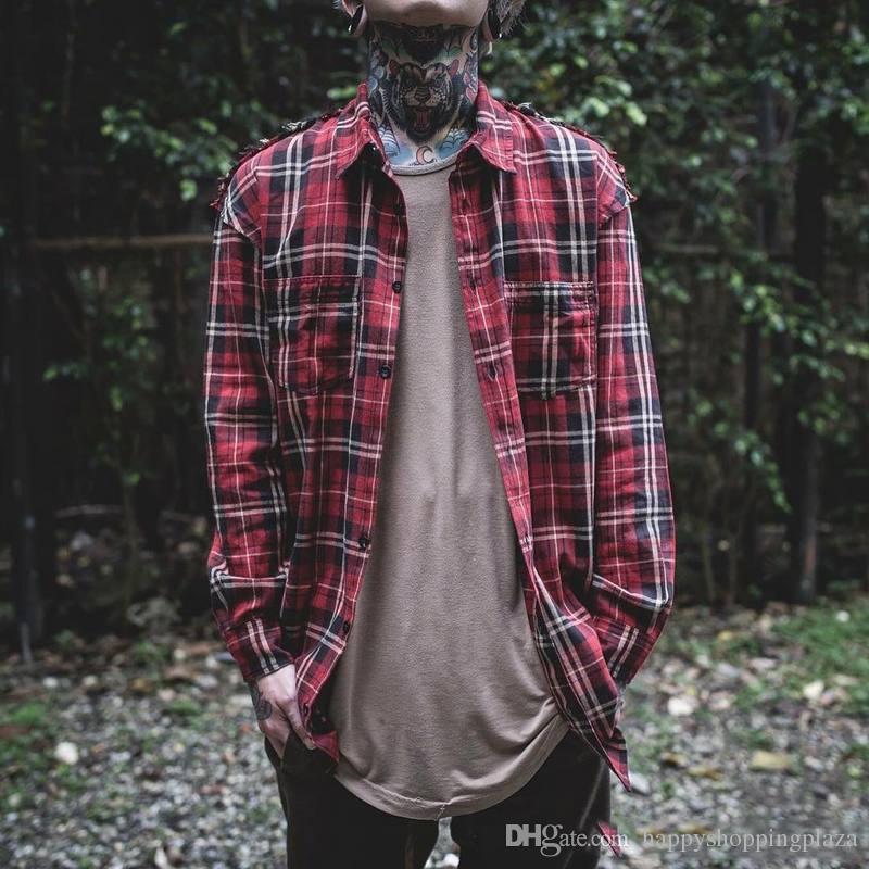 2017 Vintage Plaid Shirts For Men Hip Hop Raw Edge Long