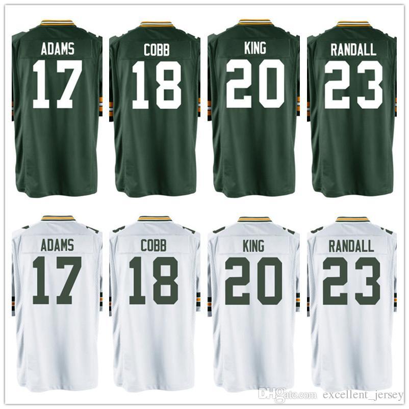 17 Davante Adams Home Game Jersey Mens Custom Jersey 17 Davante Adams 18  Randall Cobb 20 Kevin King 23 Damarious Randall 100 ... 4944cad39