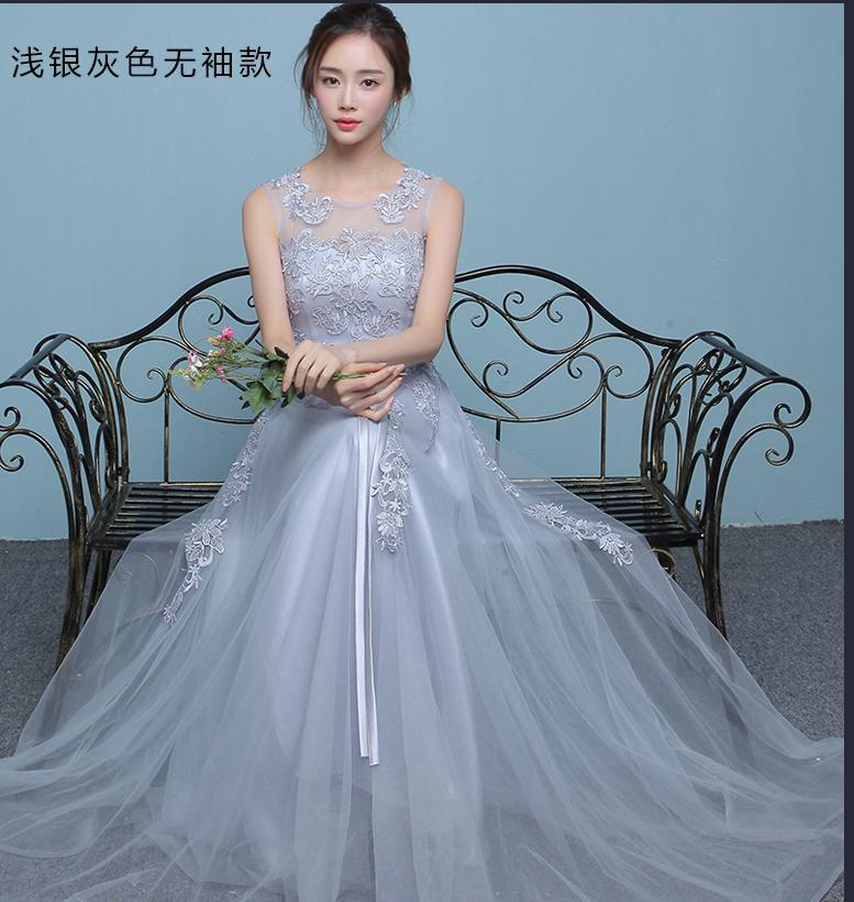Cheap Bridesmaid Dresses Silver Grey Tulle Maid Of Honor Dress For Wedding Guest Party Dresses