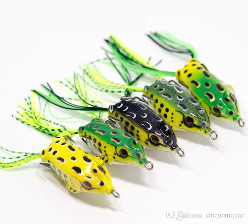 5 pcs Tof mâle Grenouille Lure Bass Fishing Grenouille Ray Crochets double Appât
