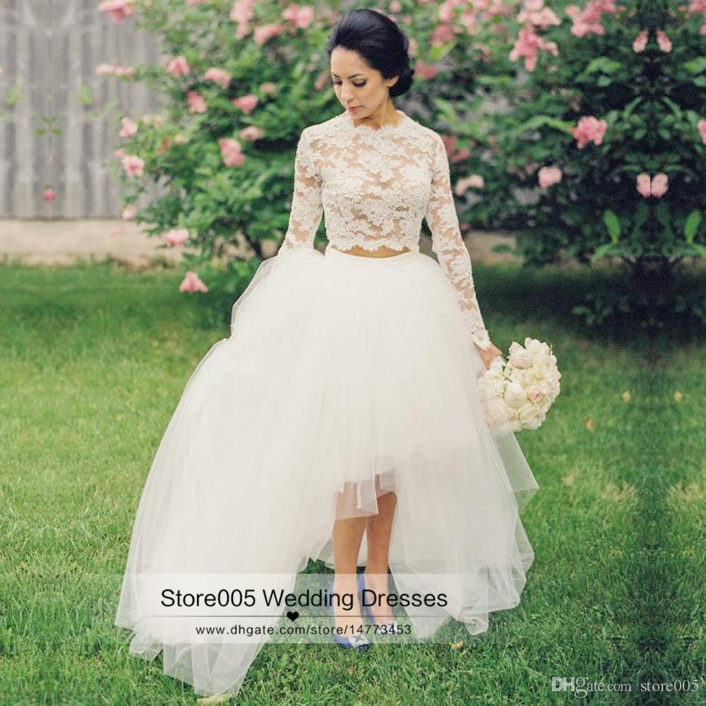 2016 summer long sleeve lace wedding dresses two pieces for Wedding dresses under 150 dollars