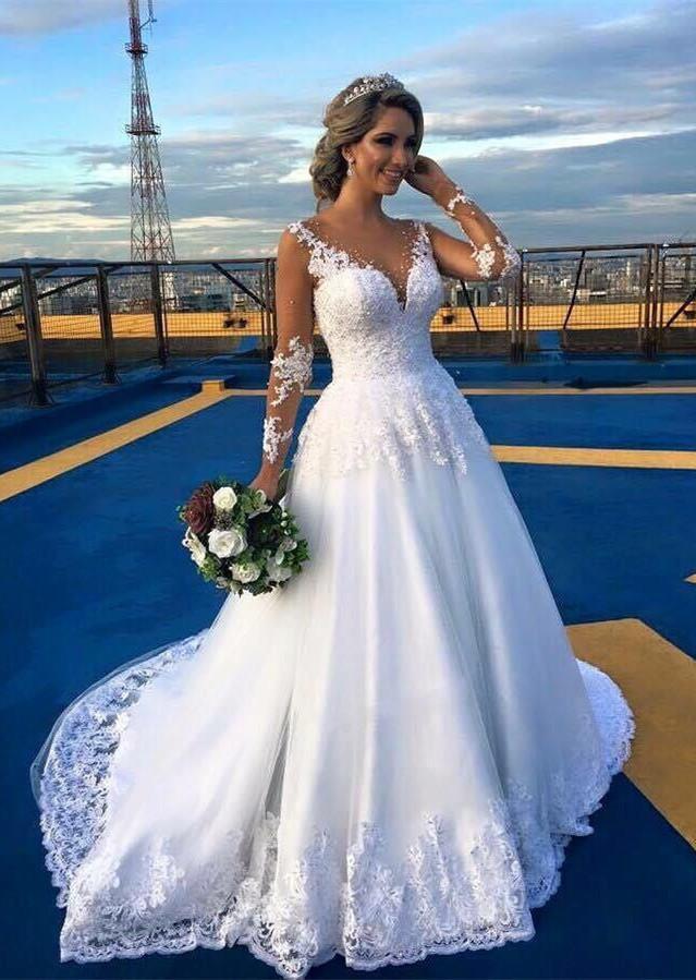 Discount ivory long sleeves beach wedding dresses v neck for Custom made wedding dresses nyc