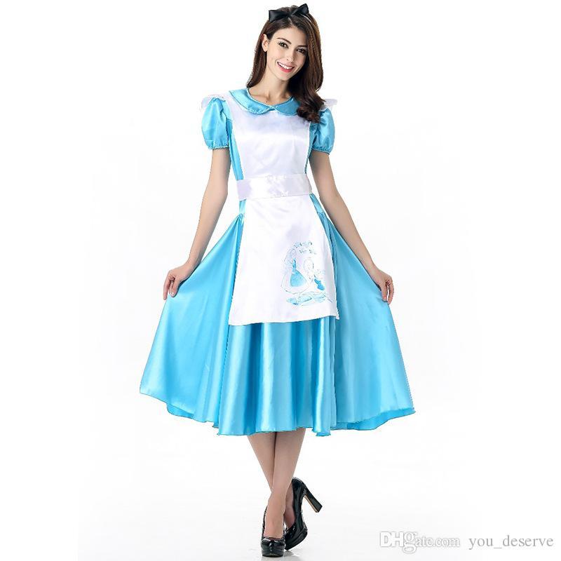 2017 alice in wonderland maid blue dress sexy cosplay halloween costumes uniform temptation club party clothing hot selling alice in wonderland maid uniform - Blue Halloween Dress