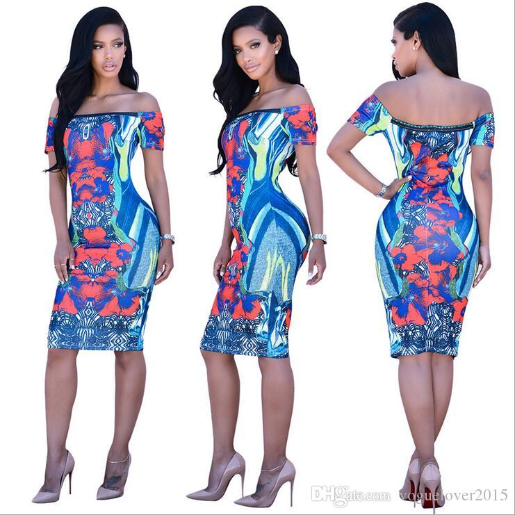 2017 European Sexy Night Club Dress African Print Bodycon Dresses ...