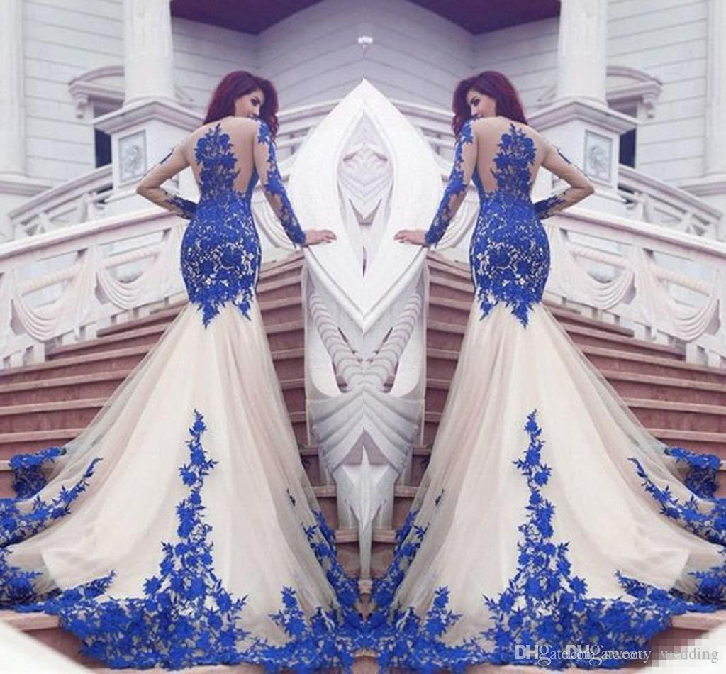 African dubai royal blue lace mermaid prom dresses 2017 for Cheap wedding dresses in dubai