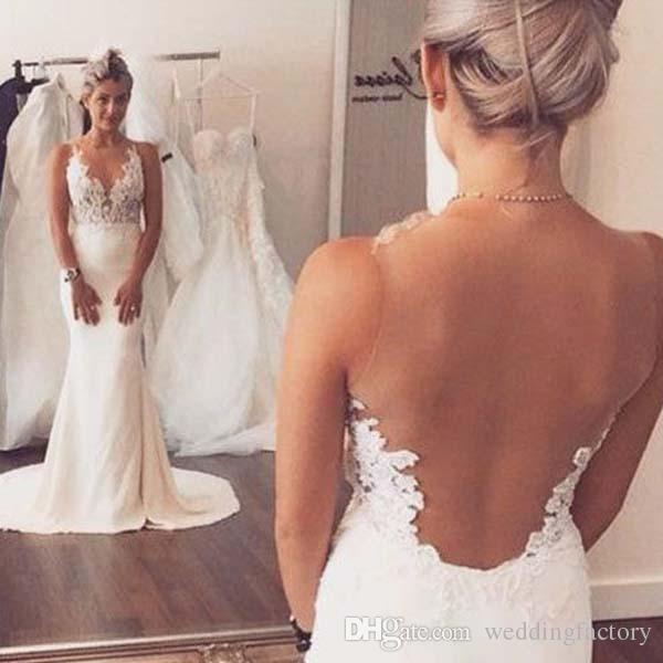 2016 Sexy Mermaid Wedding Dress Illusion Bodice See Through Top V ...