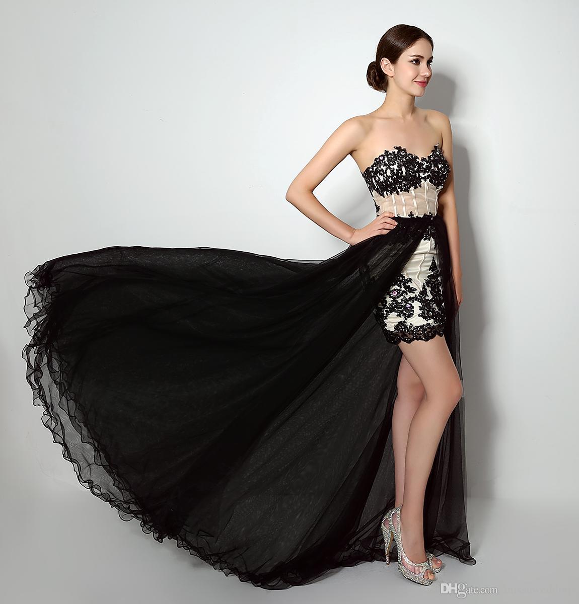 2017 high low prom dresses cheap black appliques