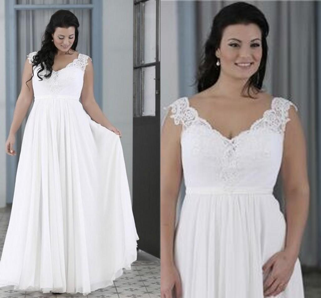 Discount 2016 Plus Size Wedding Dresses Ivory Beach Cheap