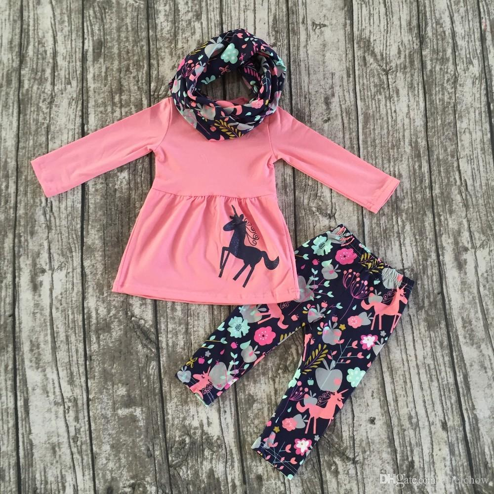 2017 Fall Winter Scarf Pink Top Baby Girls Kids Outfits