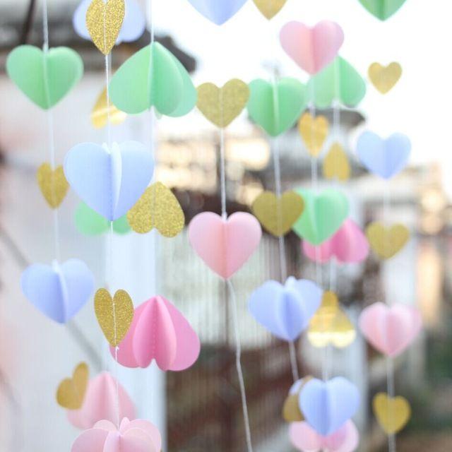 Pink / Gold Paper Heart Garland / Diy Wedding Curtain / Curtain ...