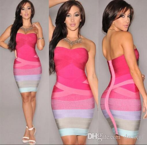 2017 Hot Summer Female Clothing Women'S Bandage Dress Striped ...