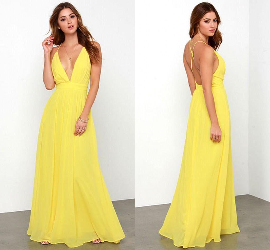Yellow 2016 Fast Shipping Prom Dresses V Neck Sexy Chiffon A Line ...