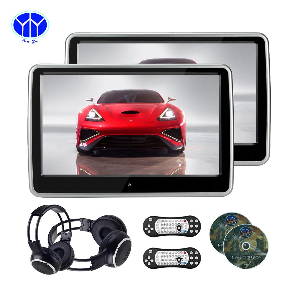 Pair 10 1 inch 1024 600 car headrest dvd player usb sd hdmi ir fm tft - 10 1 Inch 1024 600 Tft Lcd Resistance Touch Screen Car Headrest Monitor And Dvd Player Usb Sd Ir Fm Headphone Game Car Headrest Dvd Player Car Headrest