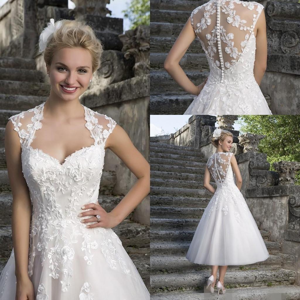 Discount 2016 tea length wedding dresses cheap square neck for Dhgate wedding dresses 2016