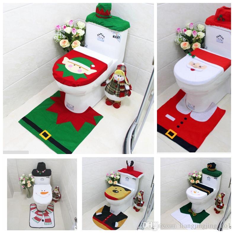 Christmas Toilet Seat Cover XMAS Santa Rug Set Toilet Lid