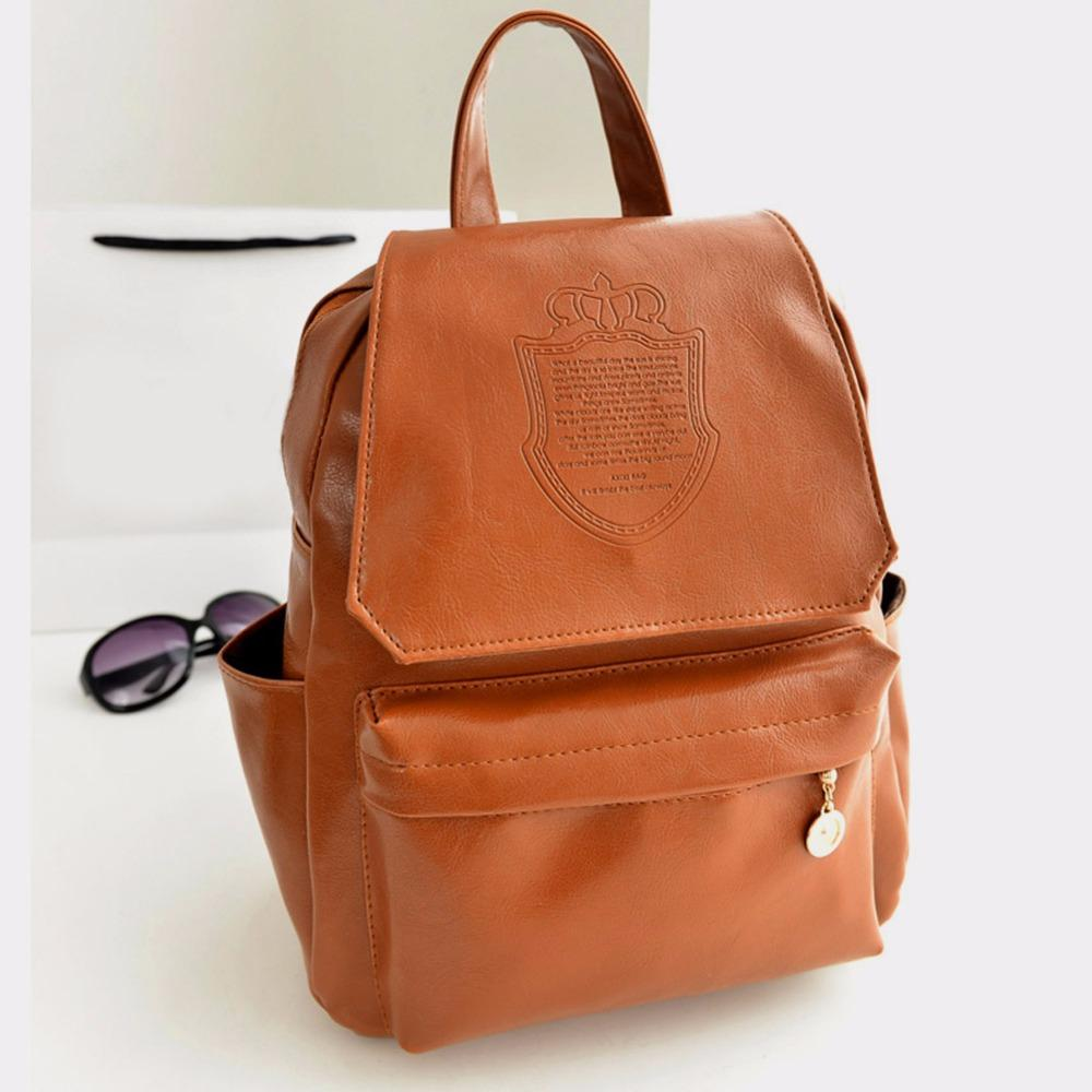 College Preppy Style Pu Leather Backpack Girls School Backpacks ...