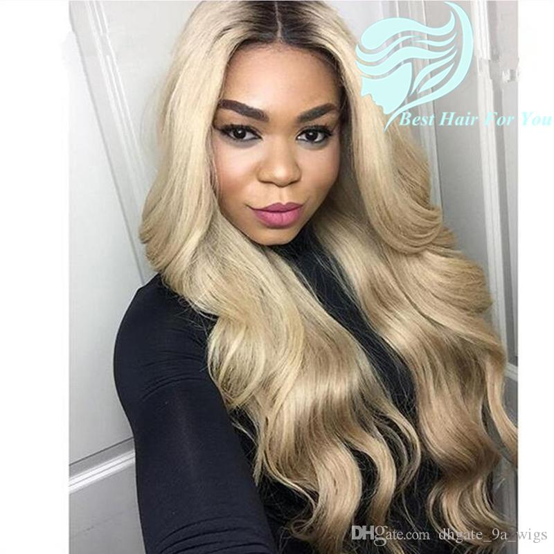 Two Tone Color 1b 613 Brown Blonde Dark Root Ombre Body