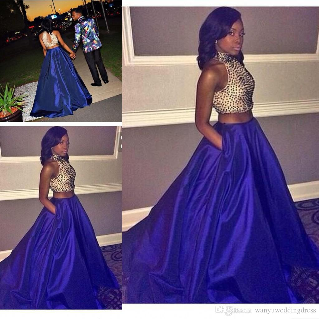 2k16 Two Pieces Prom Dresses Pockets Long Beaded Top Modest Zipper ...