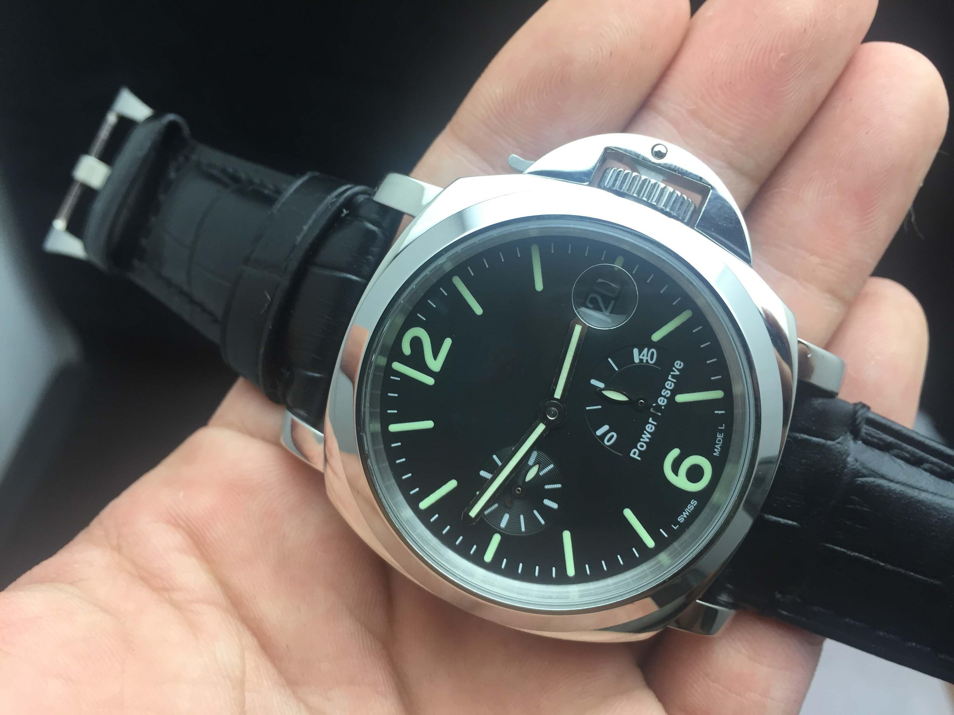 luxury watch high quality mens watches 44mm black dial power luxury watch high quality mens watches 44mm black dial power storage automatic wristwatch luminous watch waterproof