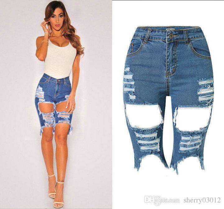 2017 designer denim 2016 high waist ripped jeans cotton