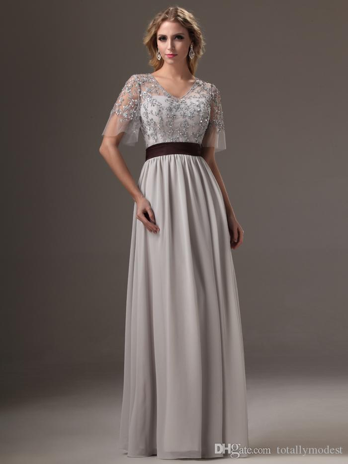 2016 on sale silver grey long modest bridesmaid dresses for Modest wedding dresses for sale