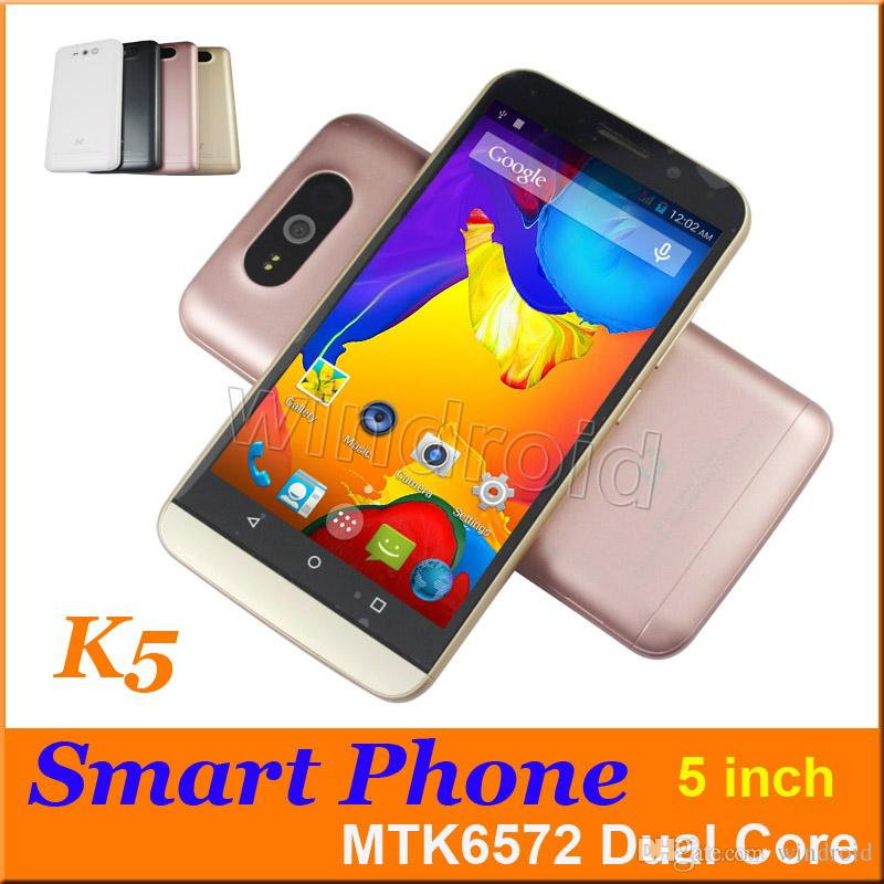 K5 5 pouces Dual Core Android 4.4 3G Smart Phone Dual Sim 3G WCDMA Unlocked MTK6