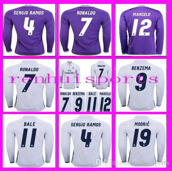 Manches Longues 16 17 Maillots Real Madrid Chemise Benzema James Bale Ronaldo Li
