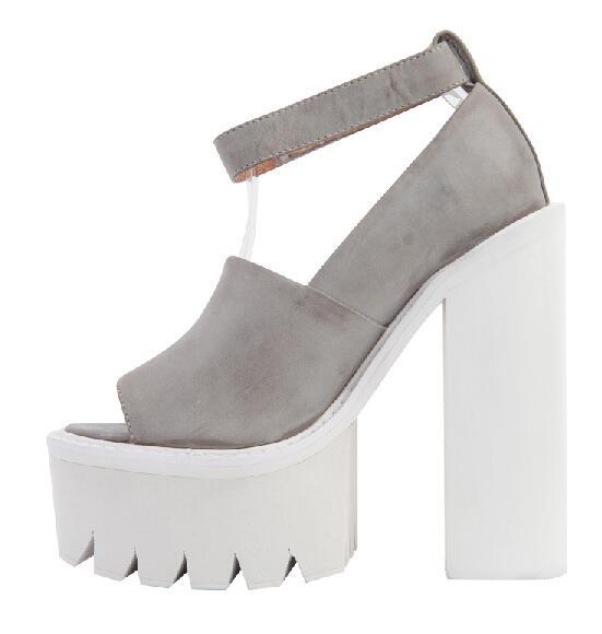 Jeffrey Campbell Skully Platform Heels Grey Peep Toe Pumps Ankle ...