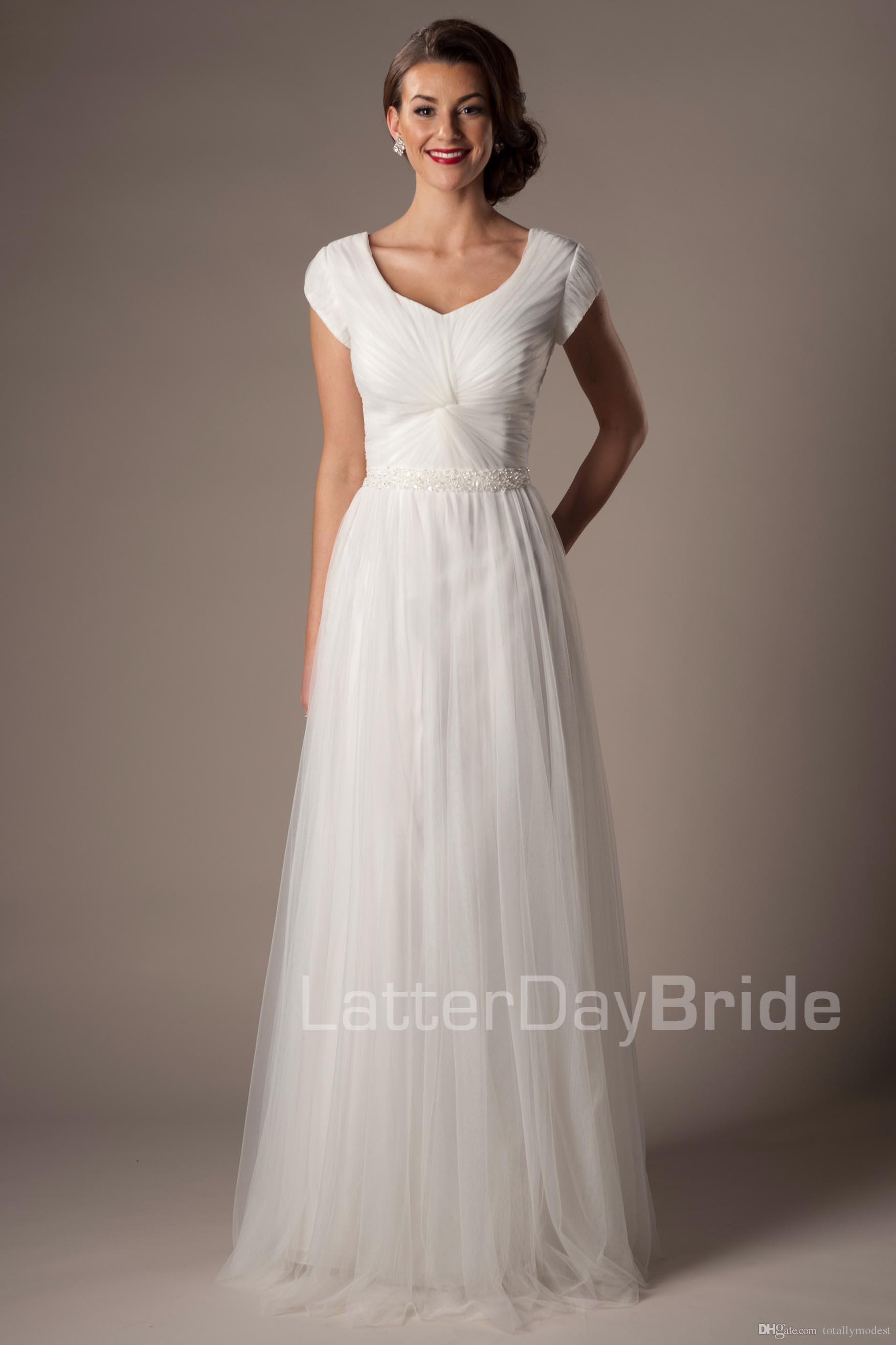 2016 Ivory Tulle Modest Wedding Dresses With Cap Sleeves
