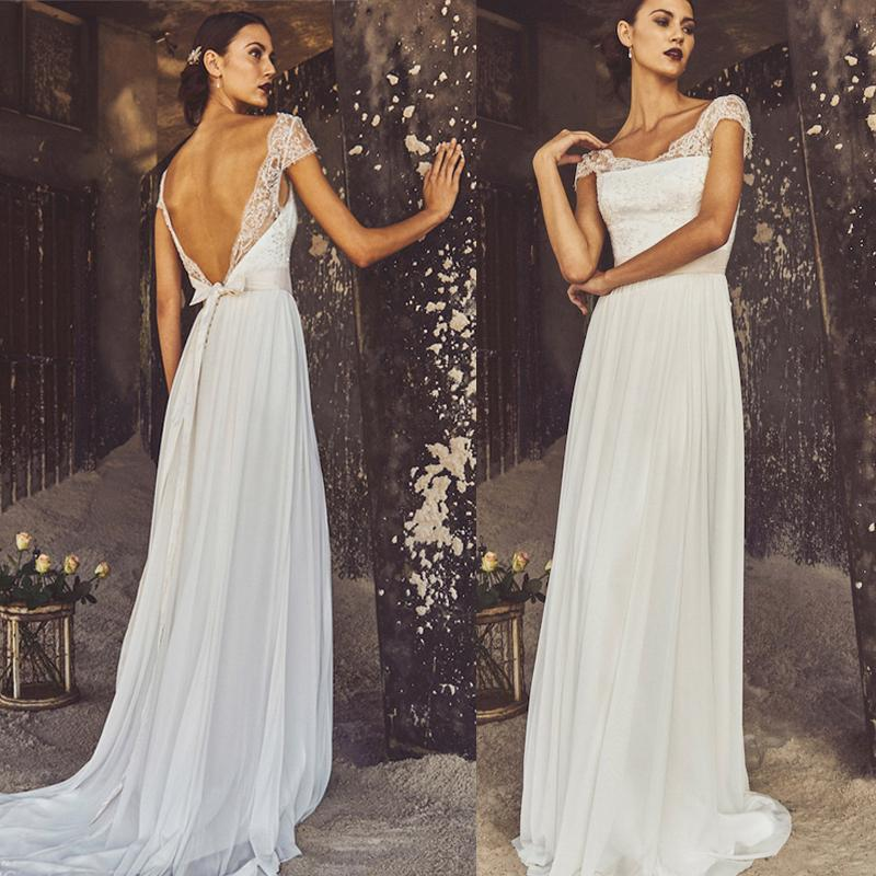 Discount low back beach wedding dresses with cap sleeves for Beach wedding dress low back