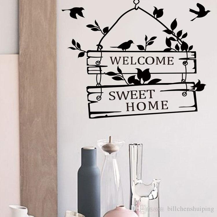 Home Decor Decals banner twine line wall decal floral vinyl home decor New Birds Welcome Home Vinyl Wall Art Decals Quotes Saying Home Decor Christmas Wall Sticker Free