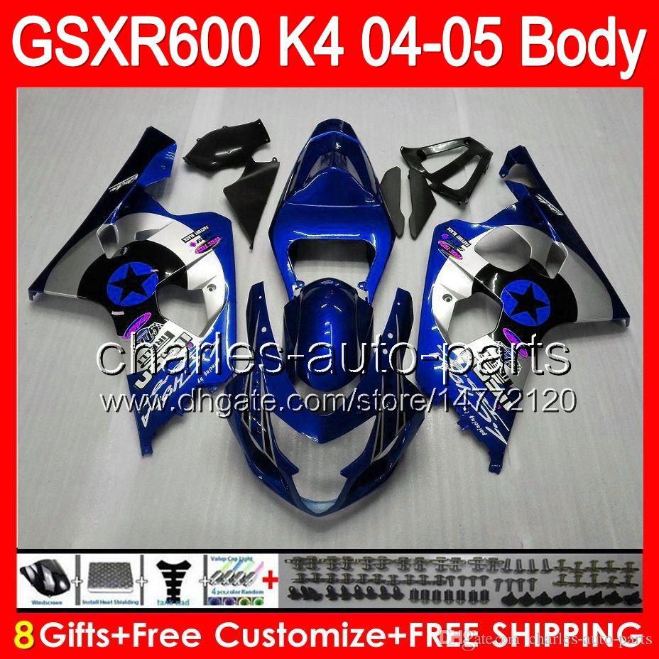 Blue silver 8gifts Bodywork For SUZUKI GSX R600 04 05 GSXR 600 04-05 76HM2 GSXR-600 K4 GSX-R600 GSXR600 2004 2005 Fairing Kit New Blue star