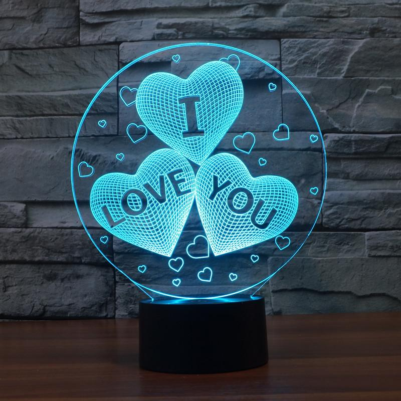 Love 3D Lamp Remote Control Night 7 couleurs Change USB LED Table Table Lampe La