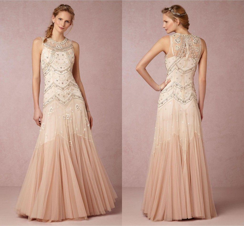 Sheath Wedding Gown Pattern : Modest bhldn beach wedding dresses sheath beaded pattern zipper