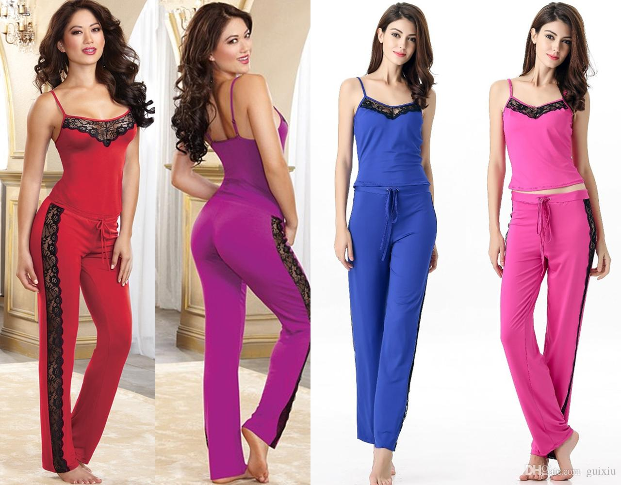 Sexy Pajamas For Women Soft Cotton Stretch Jersey Knit Straps ...