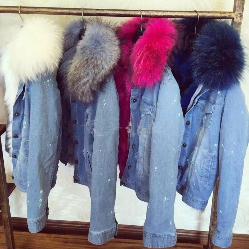 Wholesale-high Quality 2016 New Winter Denim Natural Real Fox Fur ...