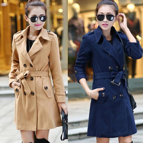 2017 Winter Trendy Nice Long Pea Coats Women Military Style Double