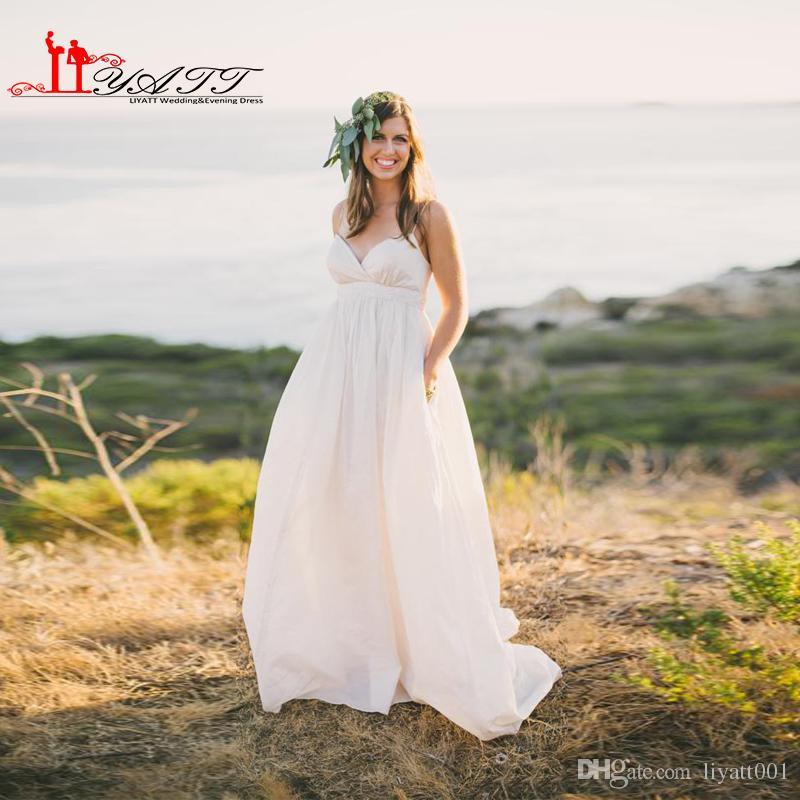 Discount 2016 Simple Maternity Beach Wedding Dresses Plus
